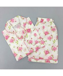 Little West Street Rose Printed Short Set - Pink & White