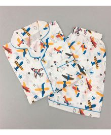 Little West Street Fly Away Printed Short Set - White & Blue