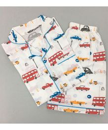 Little West Street Transport Printed Short Set - White Blue & Red