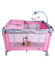 Toyhouse Baby Crib With Detachable Mosquito Net - Light Pink