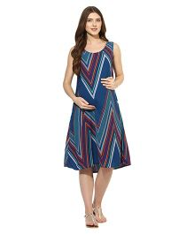 Mine4nine Sleeveless Maternity Dress Chevron Print - Green