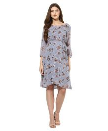 Mine4nine Three Fourth Sleeves Maternity Dress Floral Print - Grey