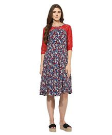 Mine4nine Three Fourth Sleeves Lace Maternity Dress Floral Print - Blue & Red