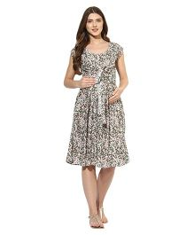 Mine4nine Short Sleeves Front Knot Maternity Dress Floral Print - Olive Green