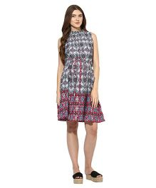 Mine4nine Sleeveless Maternity Pocket Dress Aztec Print - Sky Blue