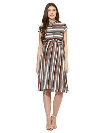 Mine4nine Short Sleeves Maternity Dress Stripe Print - Off White