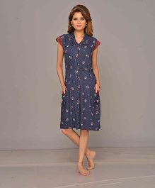 Mama & Bebe Cap Sleeves Front Open Printed Dress - Navy