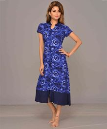 Mama & Bebe Short Sleeves Front Open Printed Dress - Royal Blue