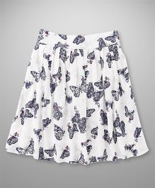 Highflier Butterfly Print Skirt - White & Blue
