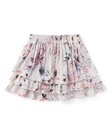 Highflier Floral Print Layered Skirt - White