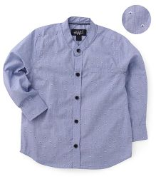 Highflier Mandarin Collar Full Sleeves Shirt - Blue