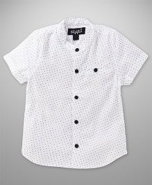 Highflier Polka Dot Mandarin Collar Shirt - White