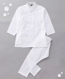 Enfance Computered Chickan Embroidery Kurta Pyjama Set - White