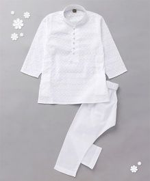 Enfance Kurta Pyjama Set With Chickan Embroidery - White