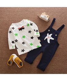 Pre Order - Superfie Star Printed Tee With Dungaree - White & Navy Blue