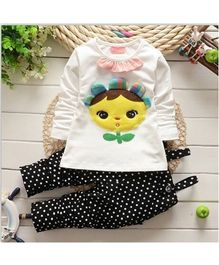 Pre Order - Superfie Sunflower Embossed Top With Dot Print Dungaree - Black