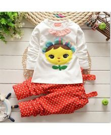 Pre Order - Superfie Sunflower Embossed Top With Dot Print Dungaree - Red