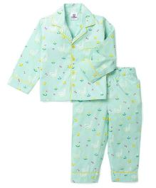 Lilpicks Couture  Swans Printed Nightwear - Sea Green