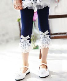 Aakriti Creations Leggings With Lace Frill & A Bow - Navy Blue