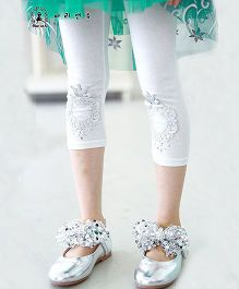 Aakriti Creations Leggings With Bow Design - White