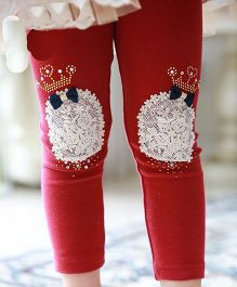 Aakriti Creations Crown Patchwork Leggings With Bow Design - Red