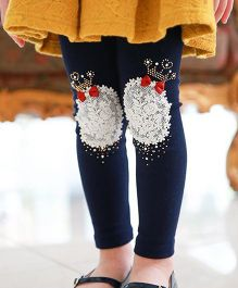Aakriti Creations Crown Patchwork Leggings With Bow Design - Navy Blue