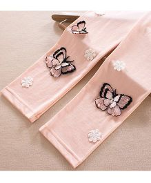 Aakriti Creations Leggings With 3D Butterflies Embosed - Pink