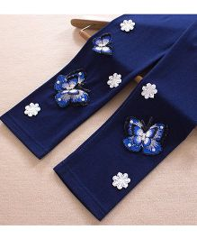 Aakriti Creations Leggings With 3D Butterflies Embosed - Navy Blue