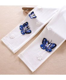 Aakriti Creations Leggings With 3D Butterflies Embosed - White