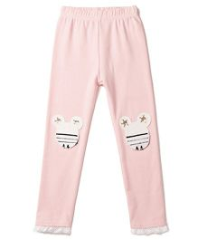 Aakriti Creations Leggings With Mouse Patch - Pink
