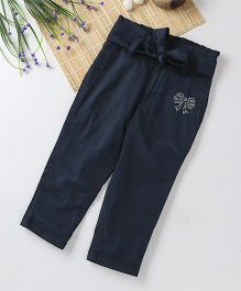 Babyhug Full Length Adjustable Elastic Pant Sequin Bow Design - Navy