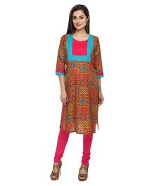 Morph Maternity 3/4th Sleeves Kurti Printed - Multicolor
