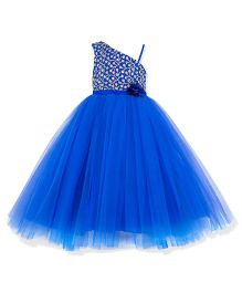 Toy Balloon One Shoulder Gold Embroidered Dress - Blue