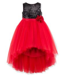 Toy Balloon Sleeveless Hi Low Party Dress - Red Black