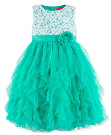 Toy Balloon Sleeveless Waterfall Party Dress - Green