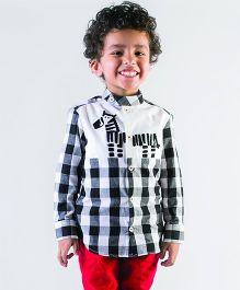 Tiber Taber Zebra Checks Shirt With Surprise Story Book - Black &White