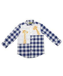 Tiber Taber Giraffe Checks Shirt With Surprise Story Book - Blue & White