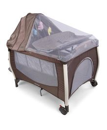 Baby Playpen With Full Mosquito Net - Coffee Brown