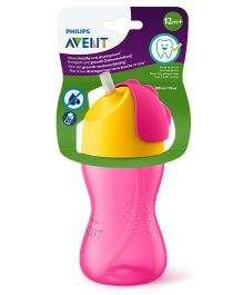 Avent Bendy Straw Cup Pink Yellow - 300 ml