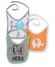 Morisons Baby Dreams Bibs Printed  Set Of 3 - Grey Orange Blue