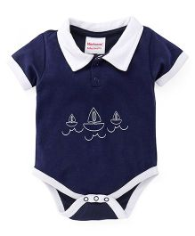 Morisons Baby Dreams Half Sleeves Onesie Ship Print - Blue