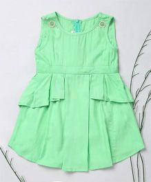 Murphy Mouse Asymetric Style Dress With Front Show Buttons - Green