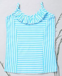 Murphy Mouse Line Print Top With Frill Design - Blue
