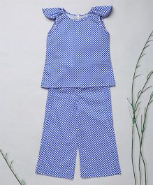 Murphy Mouse Plaid Design Top With Stylish Sleeves & Palazzo Set - Blue