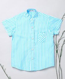 Murphy Mouse Stripe Design Shirt With Mandarin Collar - Blue