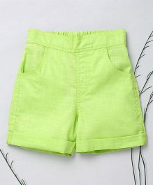 Murphy Mouse Casual Shorts With Front Pockets - Green