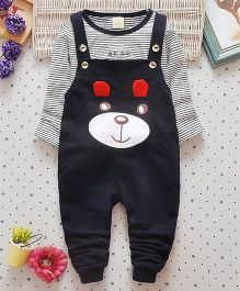 Pre Order - Superfie Teddy Dungaree Style Set - Navy Blue