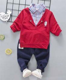 Pre Order - Superfie Mock Sweater With Shirt And Pant Set - Red