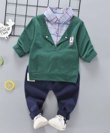 Pre Order - Superfie Mock Sweater With Shirt And Pant Set - Green