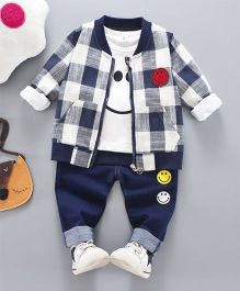Pre Order - Superfie Smiley 3 Piece Set With Checkered Zipper - Blue